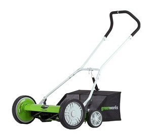 "Greenworks 25062 18"" Push Reel Lawn Mower with Catcher"