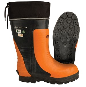 OREGON Lug Sole Chain Saw resistant boot with leather upper.# 295384